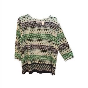 Green and Navy Knit Top